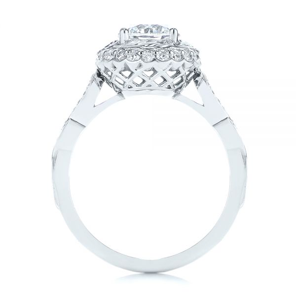 18k White Gold 18k White Gold Infinity Diamond Halo Engagement Ring - Front View -  105796 - Thumbnail