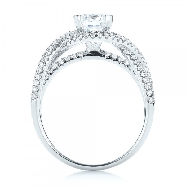 Intertwined Diamond Engagement Ring - Finger Through View
