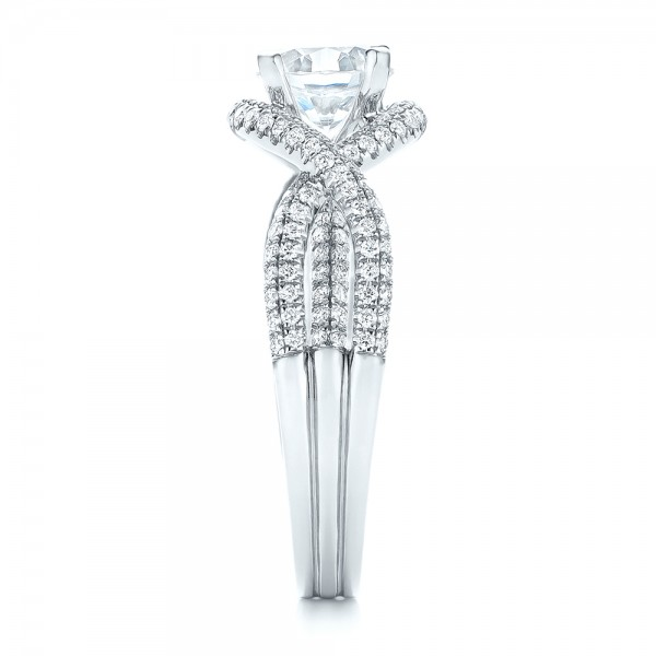 Intertwined Diamond Engagement Ring - Side View