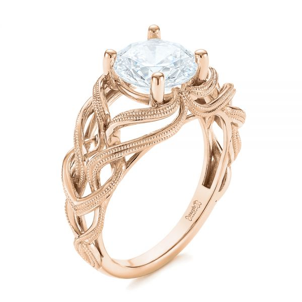 Engagement Rings Jewellery Quarter: 18k Rose Gold Intertwined Solitaire Diamond Engagement