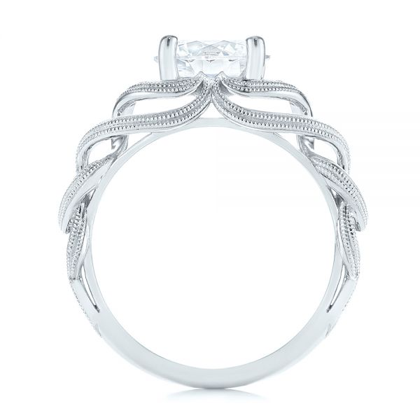 18k White Gold Intertwined Solitaire Diamond Engagement Ring - Front View -  104088