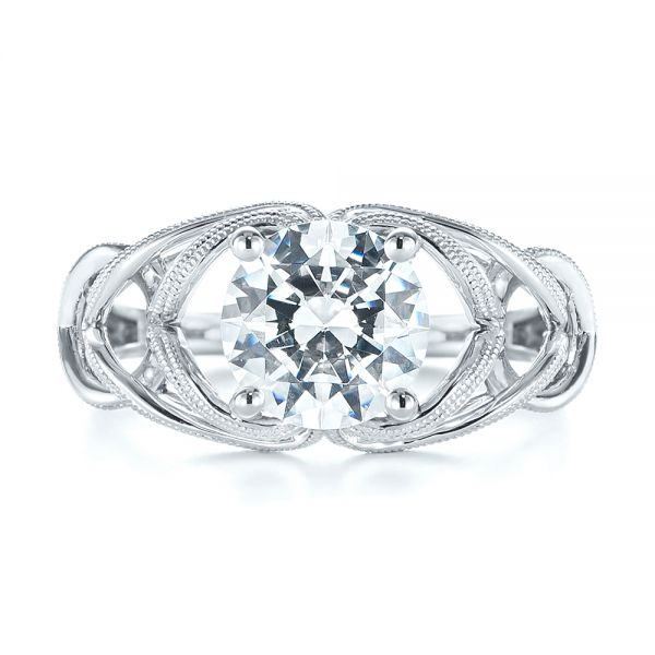 18k White Gold Intertwined Solitaire Diamond Engagement Ring - Top View -  104088