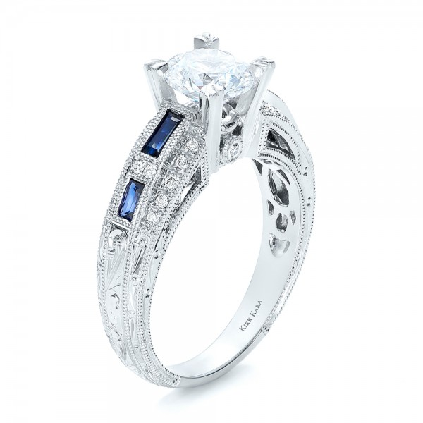 Blue Sapphire, Diamond and Hand Engraved Engagement Ring - Kirk Kara