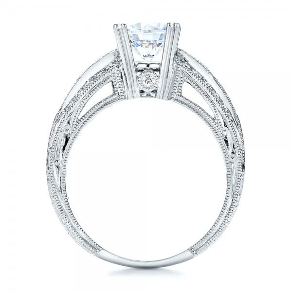 Blue Sapphire, Diamond and Hand Engraved Engagement Ring - Kirk Kara - Finger Through View
