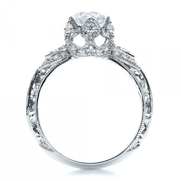 Knife Edge Diamond Engagement Ring - Vanna K - Finger Through View