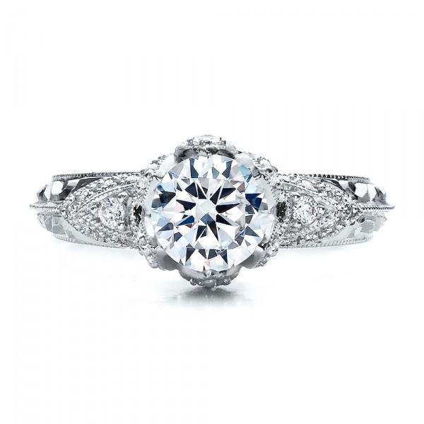 Knife Edge Diamond Engagement Ring - Vanna K - Top View
