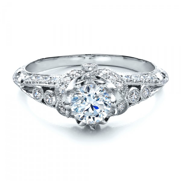 Knife Edge Engagement Ring - Vanna K - Laying View