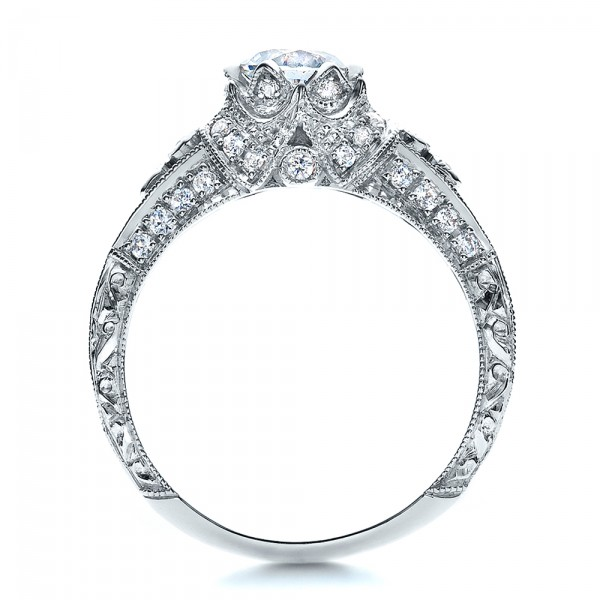 Knife Edge Engagement Ring - Vanna K - Finger Through View