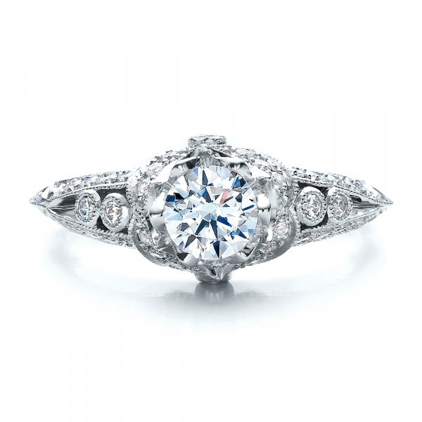 Knife Edge Engagement Ring - Vanna K - Top View