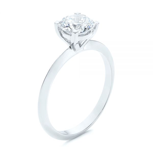 Knife Edge Solitaire Diamond Engagement Ring - Image