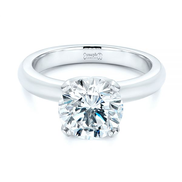Platinum Knife Edge Solitaire Diamond Engagement Ring - Flat View -  105202