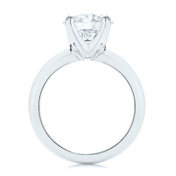 Platinum Knife Edge Solitaire Diamond Engagement Ring - Front View -  105202