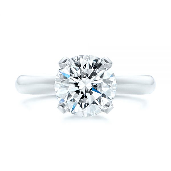 Platinum Knife Edge Solitaire Diamond Engagement Ring - Top View -  105202