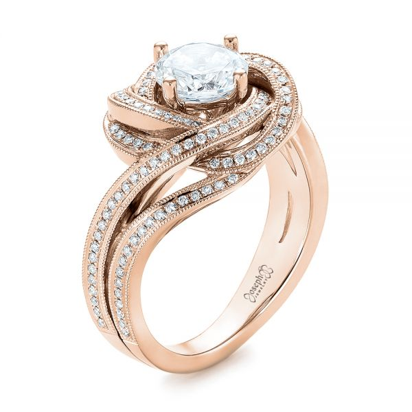 14k Rose Gold Knot Diamond Engagement Ring #104115