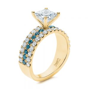 London Blue Topaz and Diamond Engagement Ring - Image