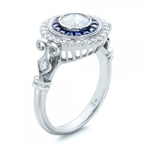 Double Halo Sapphire and Diamond Engagement Ring