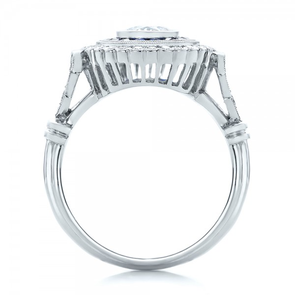 Double Halo Sapphire and Diamond Engagement Ring - Finger Through View