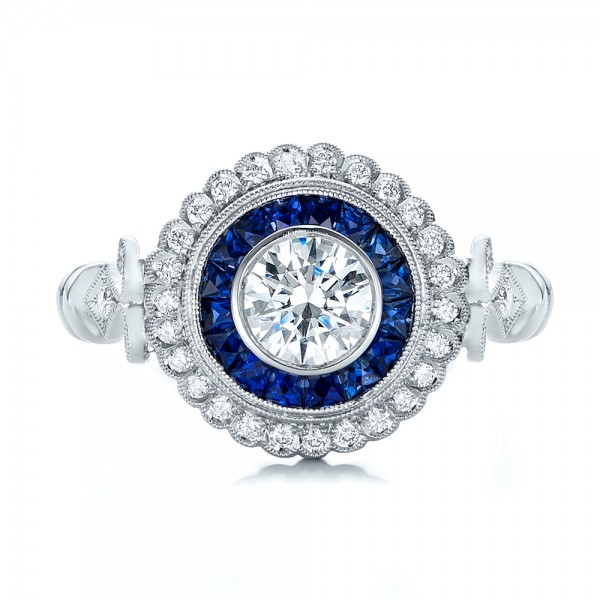 Double Halo Sapphire and Diamond Engagement Ring - Top View