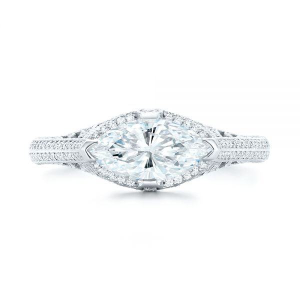 Marquise Diamond Engagement Ring - Top View -  102769 - Thumbnail