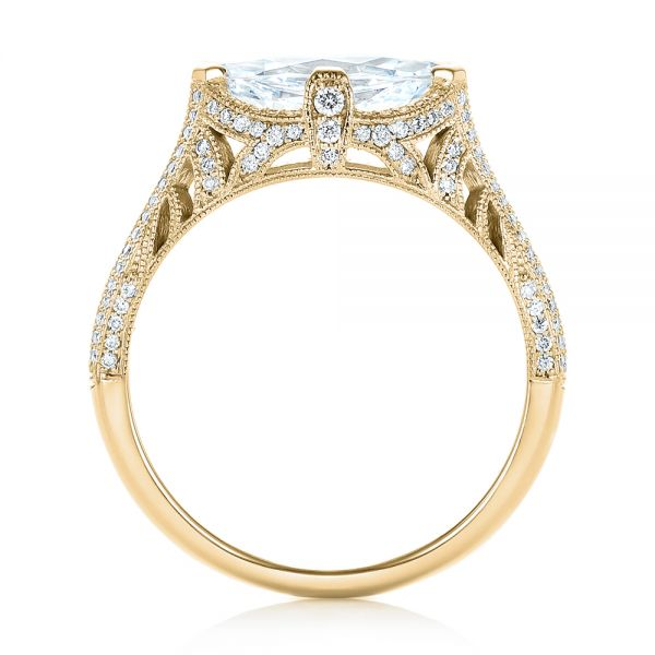 18k Yellow Gold 18k Yellow Gold Marquise Diamond Engagement Ring - Front View -
