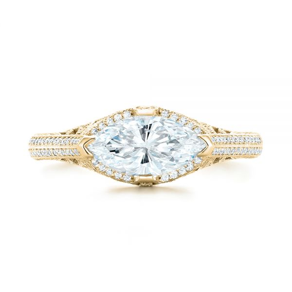 18k Yellow Gold 18k Yellow Gold Marquise Diamond Engagement Ring - Top View -