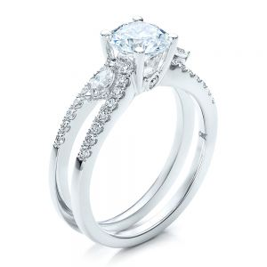 Marquise Diamond Engagement Ring with Eternity Band - Image