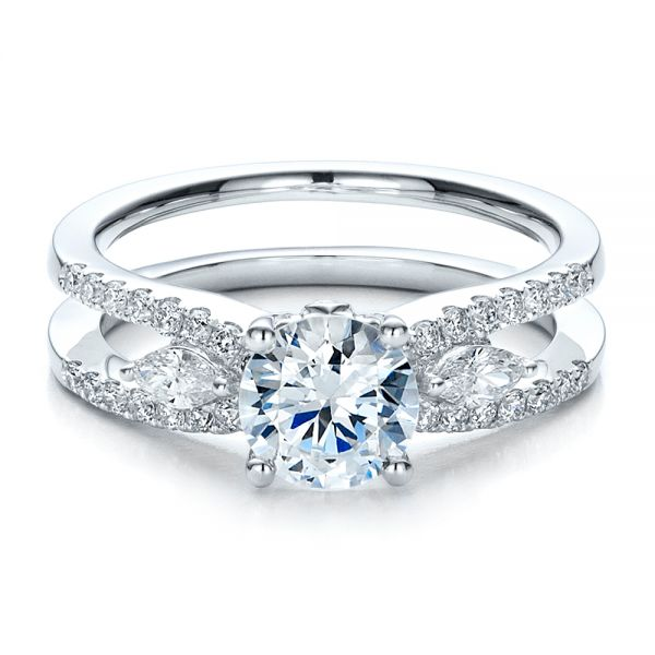 18k White Gold Marquise Diamond Engagement Ring With Eternity Band - Flat View -