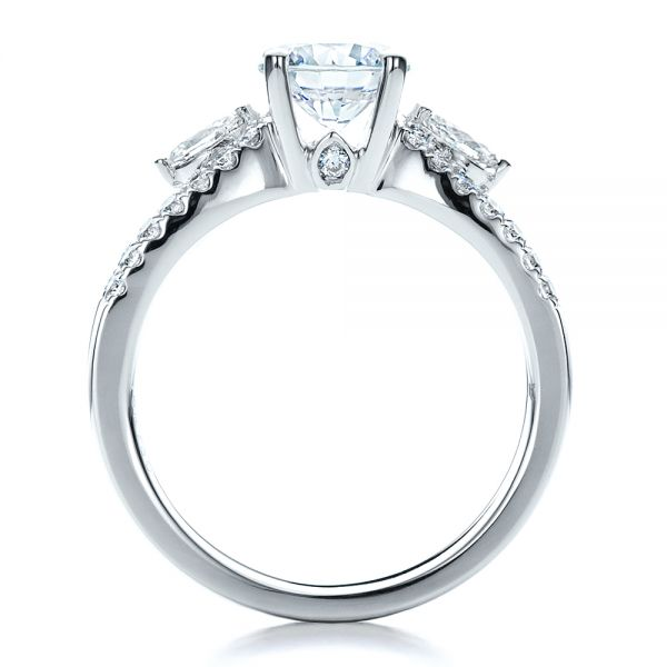 18k White Gold Marquise Diamond Engagement Ring With Eternity Band - Front View -