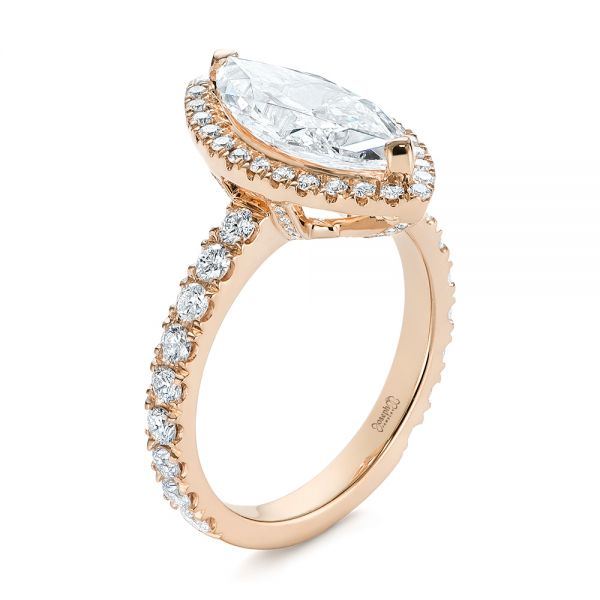 14k Rose Gold 14k Rose Gold Marquise Diamond Halo Engagement Ring - Three-Quarter View -  105189
