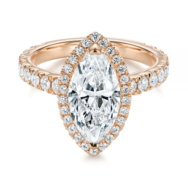 14k Rose Gold 14k Rose Gold Marquise Diamond Halo Engagement Ring - Flat View -  105189