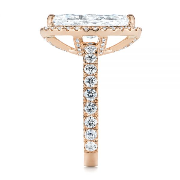14k Rose Gold 14k Rose Gold Marquise Diamond Halo Engagement Ring - Side View -  105189
