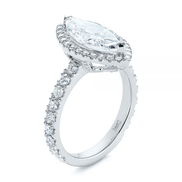 Platinum Platinum Marquise Diamond Halo Engagement Ring - Three-Quarter View -  105189