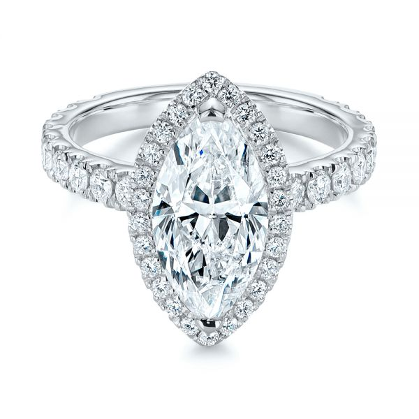Platinum Platinum Marquise Diamond Halo Engagement Ring - Flat View -  105189