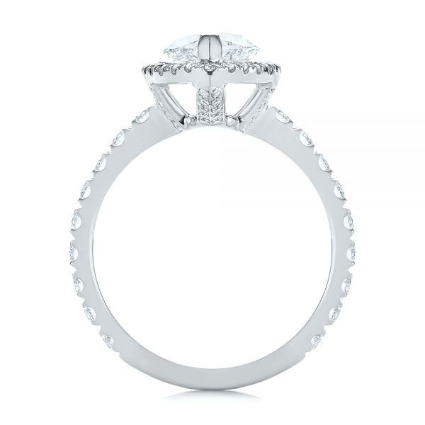 Platinum Platinum Marquise Diamond Halo Engagement Ring - Front View -  105189