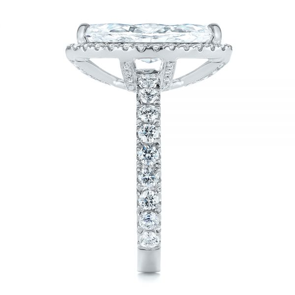 Platinum Platinum Marquise Diamond Halo Engagement Ring - Side View -  105189