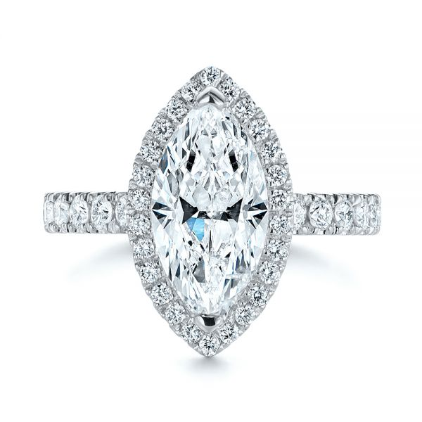 Platinum Platinum Marquise Diamond Halo Engagement Ring - Top View -  105189