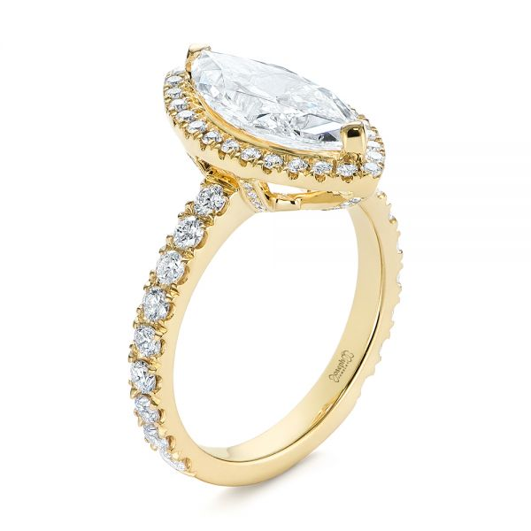 Marquise Diamond Halo Engagement Ring - Image