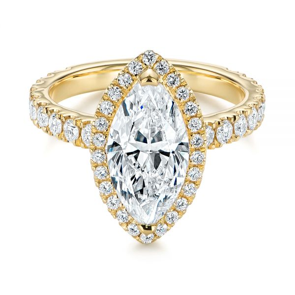 Marquise Diamond Halo Engagement Ring - Flat View -  105189 - Thumbnail