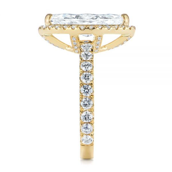 Marquise Diamond Halo Engagement Ring - Side View -  105189 - Thumbnail