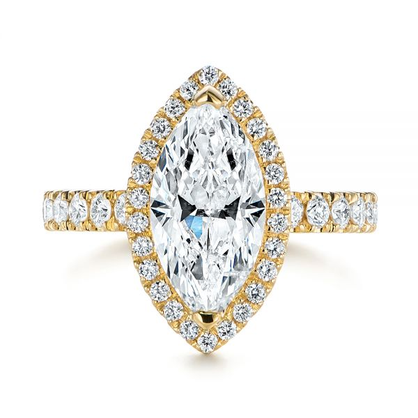 Marquise Diamond Halo Engagement Ring - Top View -  105189 - Thumbnail