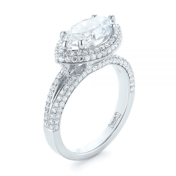 Marquise Diamond Pave Halo Engagement Ring - Image