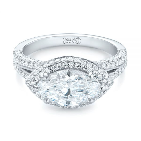 Platinum Marquise Diamond Pave Halo Engagement Ring - Flat View -  104585