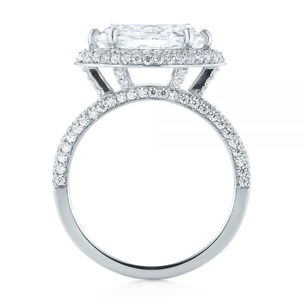 Platinum Marquise Diamond Pave Halo Engagement Ring - Front View -  104585