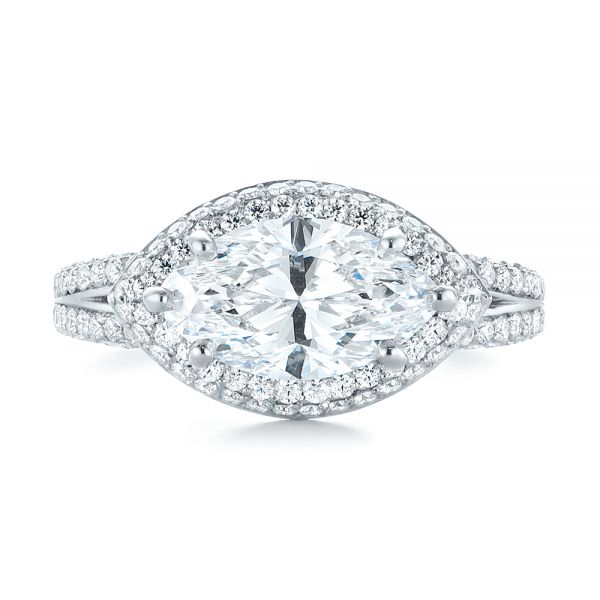 Platinum Marquise Diamond Pave Halo Engagement Ring - Top View -  104585