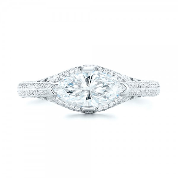 Marquise Diamond Engagement Ring - Top View