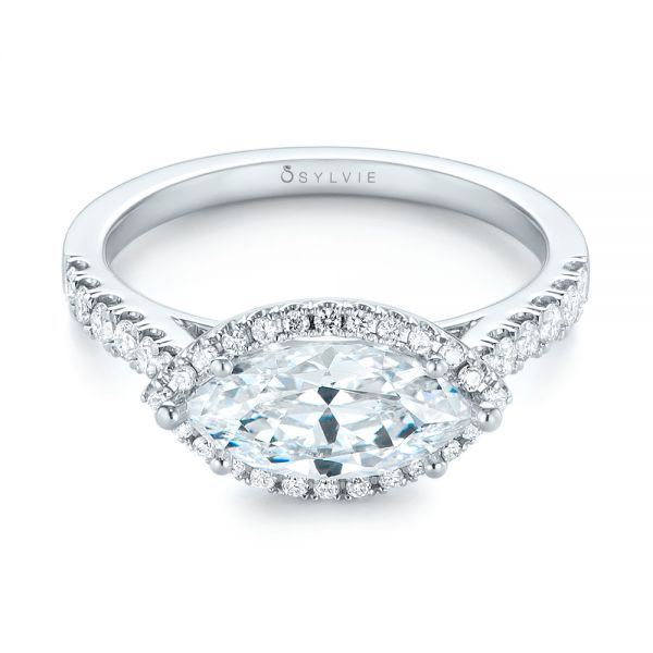 Marquise Halo Diamond Engagement Ring - Flat View -  104001 - Thumbnail
