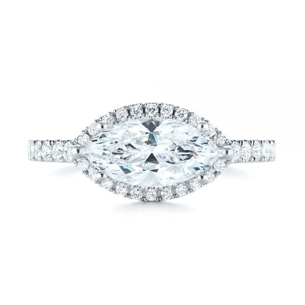 Marquise Halo Diamond Engagement Ring - Top View -  104001 - Thumbnail