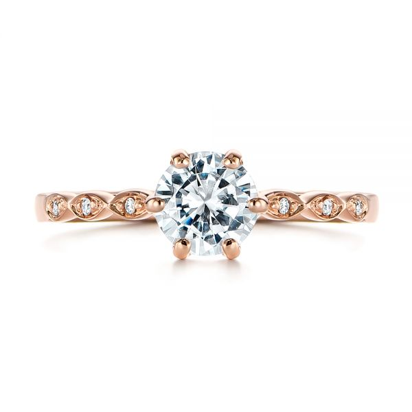 Marquise Shaped Classic Diamond Engagement Ring - Top View -  105182 - Thumbnail