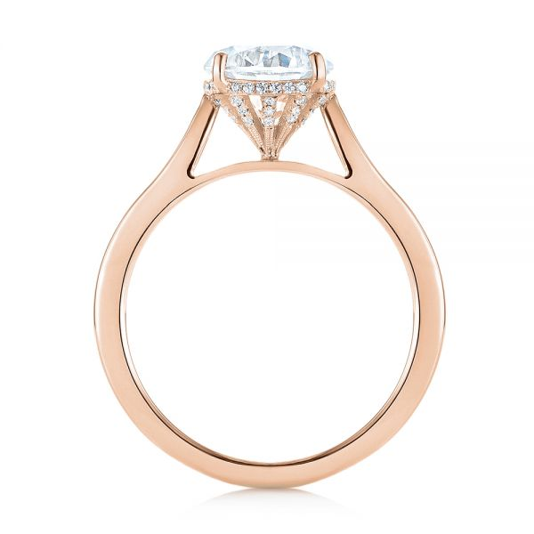 14k Rose Gold 14k Rose Gold Micro Pave Diamond Engagement Ring - Front View -  104125