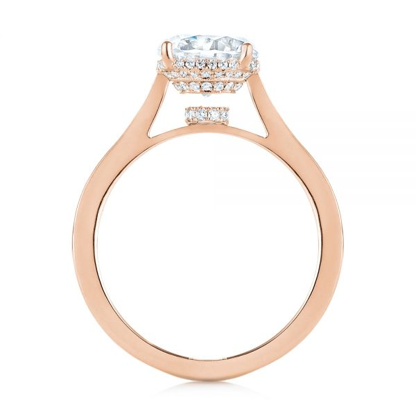 18K Rose Gold Micro Pave Diamond Engagement Ring - Front View -  104178 - Thumbnail